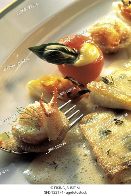 Catfish Fillet with Lobster, Stuffed Cherry Tomatoes