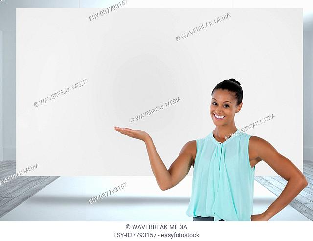 Businesswoman presenting with white board