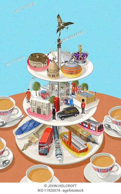 Famous London landmarks on cake stand as afternoon tea