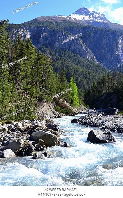 Switzerland, Europe, Graubünden, Grisons, national park, Engadine, lower engadine, Zernez, creek, brook, ova del Fuorn, Piz Terza