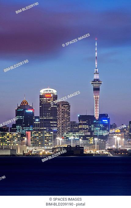 Auckland skyline lit up at night, New Zealand