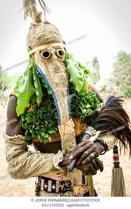 Bassari celebration with dancers on traditional clothes, Ethiolo village, Bassari country, Senegal, Africa