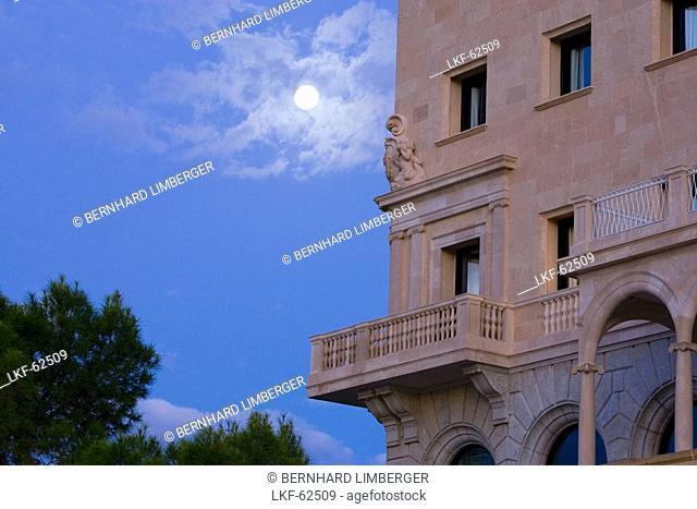 Hotel Maricel in a moonlit night, Palma, Majorca, Spain
