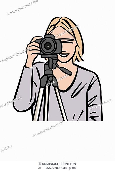 Illustration of female photographer