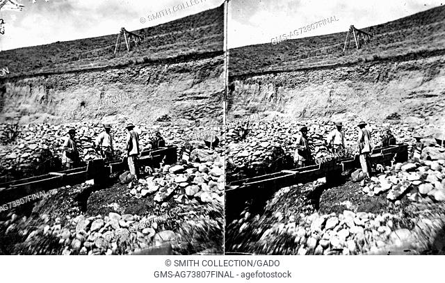 A stereograph of Chinese miners sluicing, Madison County, Montana, 1871. Image courtesy USGS