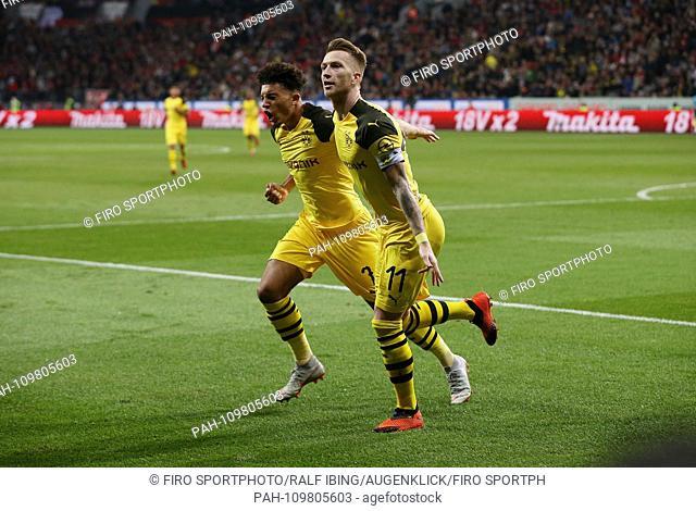 firo: 29.09.2018, football, 1.Bundesliga, season 2018/2019, Bayer 04 Leverkusen - BVB, Borussia Dortmund 2: 4 jubilation Marco REUS