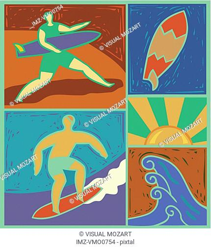 Illustration of surfers