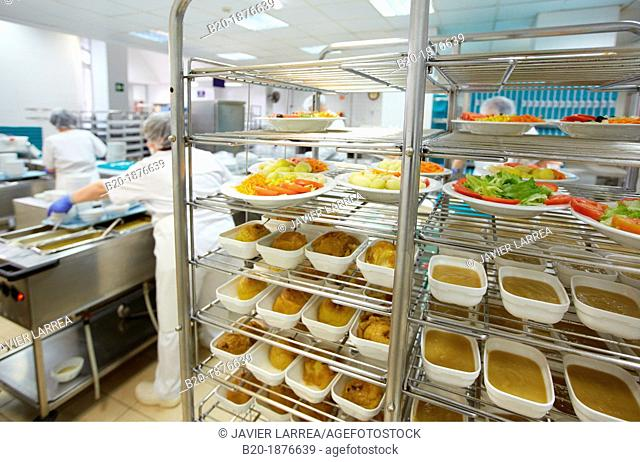 Food serving line, Hospital meal preparation, Kitchen, Hospital Donostia, San Sebastian, Gipuzkoa, Basque Country, Spain