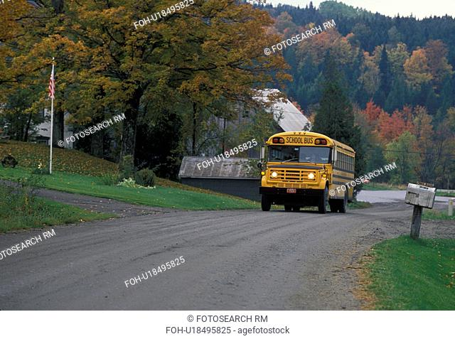 school bus, Vermont, fall, A school bus drives up a country road carrying school children in the autumn in South Walden
