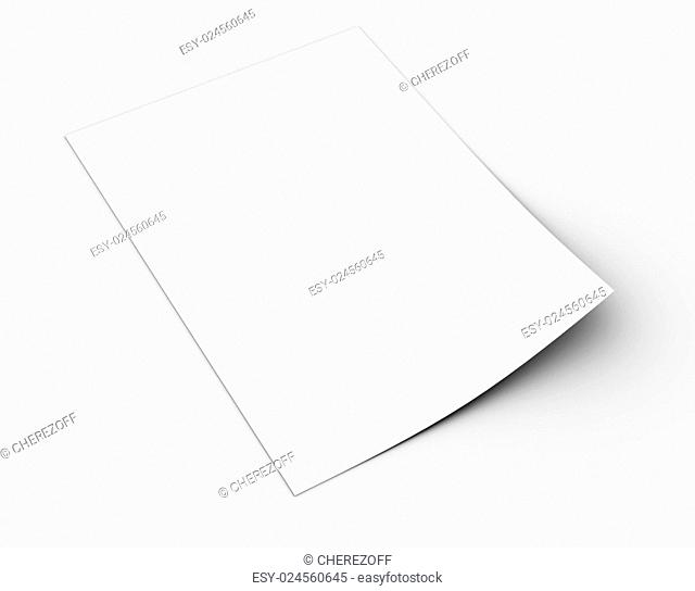 White sheet of paper. Isolated render on a grey background