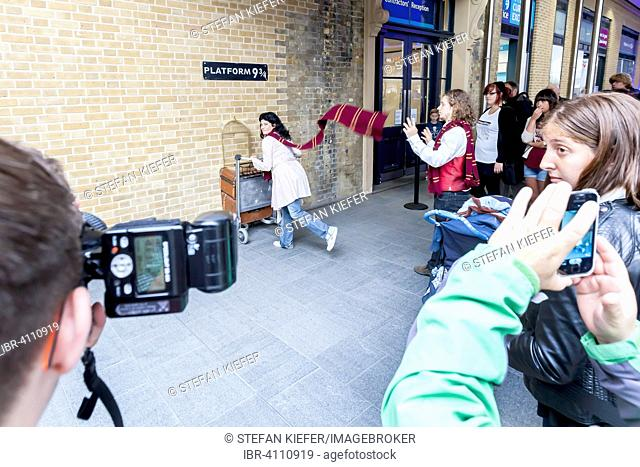 Platform 9 3/4, from the Harry Potter novel, King's Cross Station, London, United Kingdom