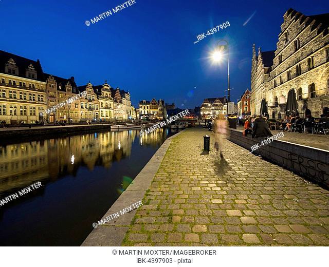 Promenade with old guildhalls on the Lys, Graslei, Korenlei, Ghent, Flanders, Belgium