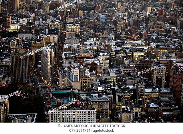 New York City, Manhattan, Skyline, Downtown, Night, Skyscrapers
