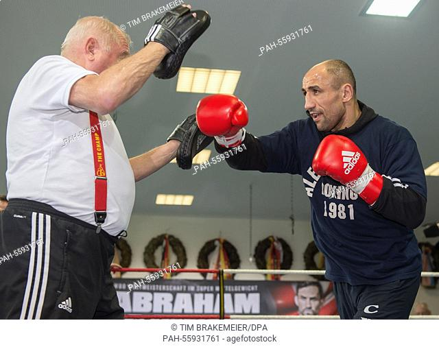 The World Boxing Organization (WBO) super middleweight champion Arthur Abraham trains with his trainer Ulli Wegner (L) in Berlin, Germany, 17 February 2015