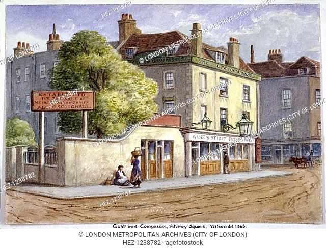 View of the Old Goat and Compasses Inn on Marylebone Road, London, 1868