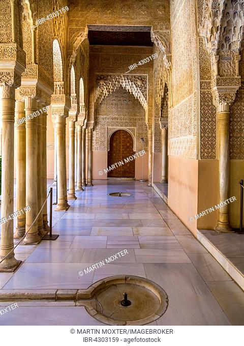 Arabesque Moorish architecture, Court of the Lions, Nasrid, Alhambra, Granada province, Andalucía, Spain, Europe