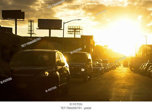 USA, New York State, New York City, Manhattan, Car traffic at sunset