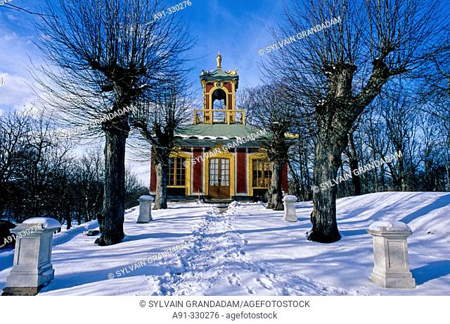The China Palace in winter. Royal Palace of Drottningholm. Stockholm. Sweden