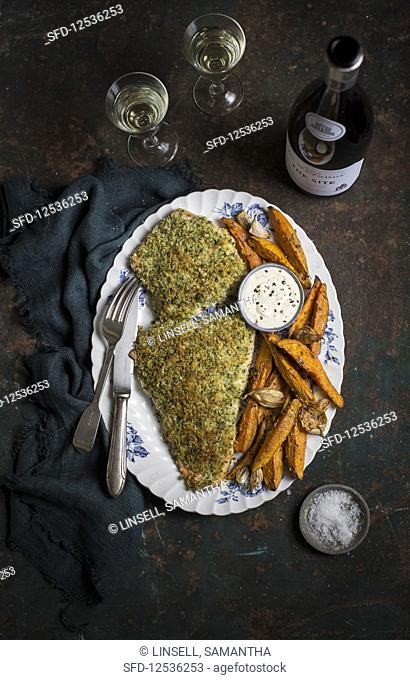 Baked breaded salmon with sweet potato chips