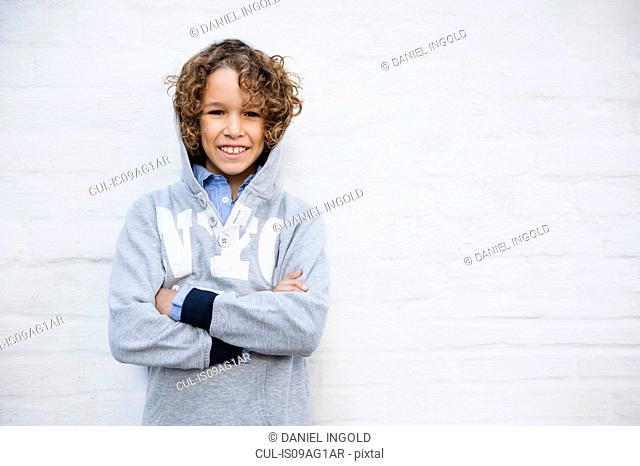 Portrait of boy in hoodie