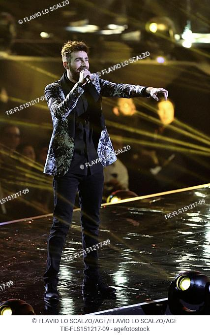 The winner of X Factor 2017 Lorenzo Licitra during the performance at the talent show X Factor 2017, Milan, ITALY-14-12-2017