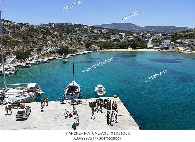 Iraklia port town view. Iraklia island. Cyclades islands. Greece