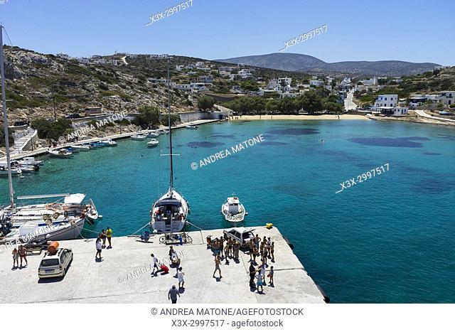 Iraklia port town view. Iraklia island. Cyclades islands. Greece