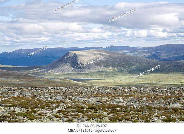 View from the Pårte plateau to the east, Nae Stuor Jierttå in Sarek National Park, Sweden