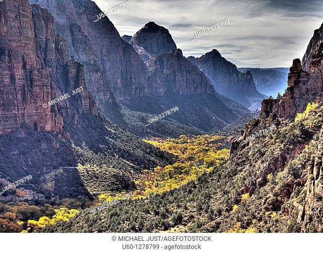 Zion Canyon during autumn from Angel's Landing at Zion National Park, Utah