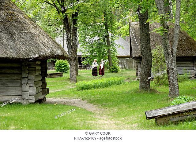 Traditional Latvian building, Latvian Open Air Ethnographic Museum Latvijas etnografiskais brivdabas muzejs, near Riga, Latvia, Baltic States, Europe