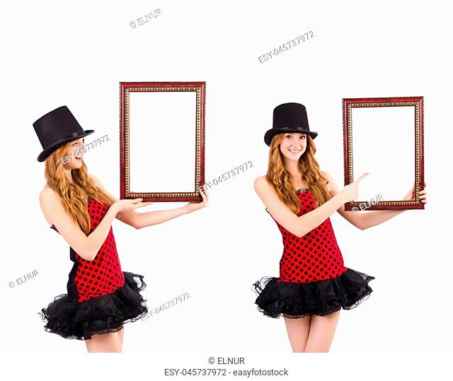 Pretty girl in red polka dot dress with picture frame isolated on white