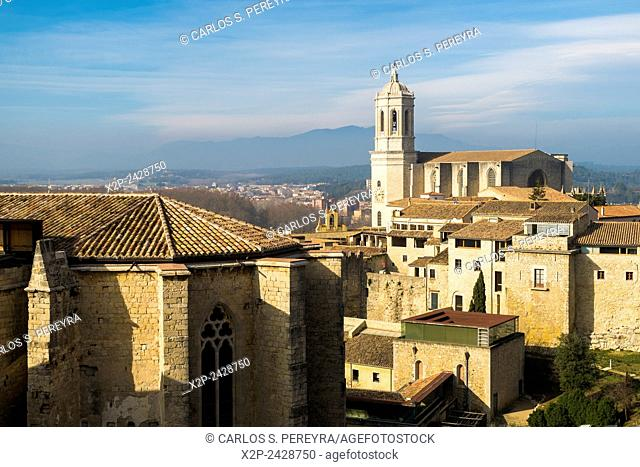 View of the city of Girona and the Cathedral. Catalonia, Spain