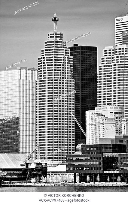 Toronto downtown. Bay Street banking district: Royal Bank Plaza, Brookfield Place, Toronto dominion and CIBC