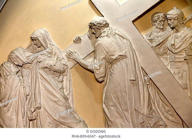 Fourth Station of the Cross, Jesus meets his mother., St. John the Baptist's Church, Arras, Pas-de-Calais, France, Europe