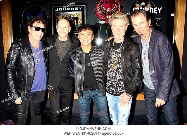 Rock Band JOURNEY Memorabilia Case Dedications In Anticipation Of The Band's 2nd Residency held at Hard Rock Hotel & Casino in Las Vegas Featuring: Jonathan...