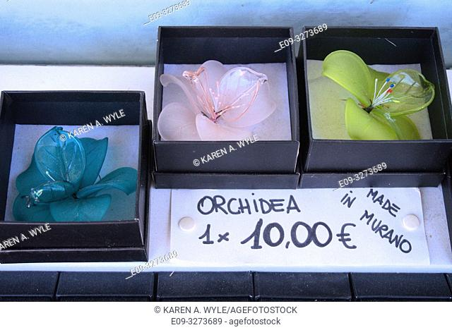 glass orchids on display at shop on island of Murano near Venice, Italy