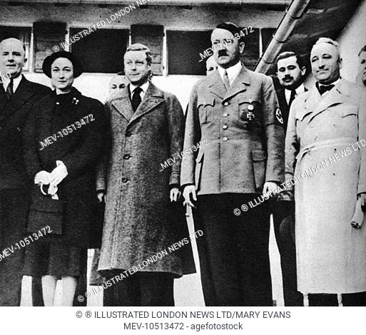 The Duke and Duchess of Windsor visting Adolf Hitler on 22nd October 1937, whilst investigating social conditions in Germany. Dr