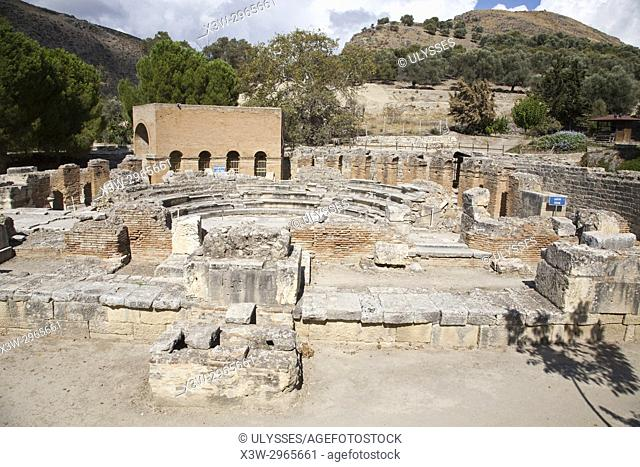 Theatre, archaeological site of Gortyna, Crete island, Greece, Europe