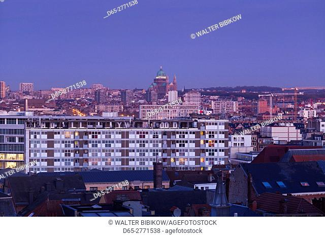 Belgium, Brussels, Place Poelaert, elevated city skyline, dawn