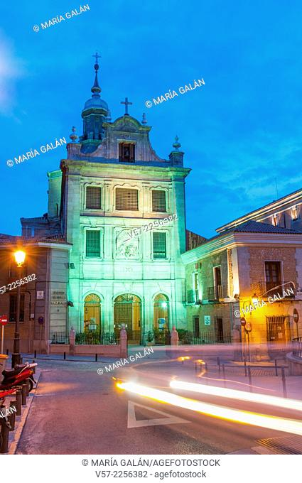 Arzobispal Castrense church, night view. Madrid, Spain