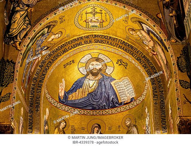 Byzantine mosaic of Christ Pantocrator in the apse of Cappella Palatina, Palatine Chapel of the Palace of the Normans or Royal Palace of Palermo, Palermo