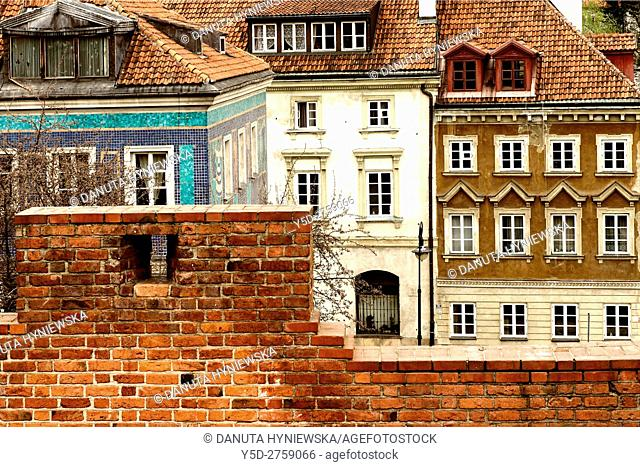 view for facades of traditional townhouses from fortification walls, Mostowa street, Old Town, UNESCO World Heritage, Warsaw, Poland, Europe