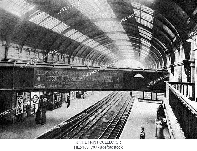 The course of the Westbourne Aqueduct over Sloane Square Station, London, 1926-1927. The River Westbourne running above the platforms of Sloane Square tube...
