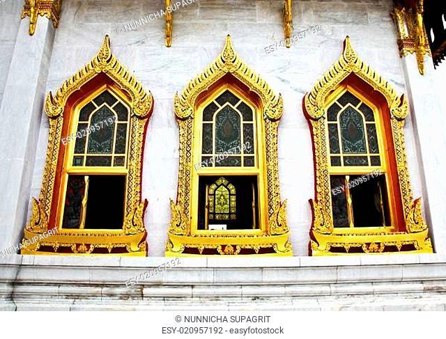 Traditional Thai architecture, Wat Benjamaborphit or Marble Temple, Bangkok