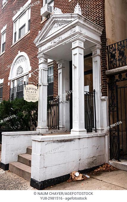 Entrance to antique house, Philadelphia, Pennsylvania, USA