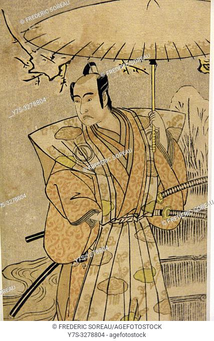Acior Ichikawa Komazo under an umbrella in the Snow,by Katsukawa Shunsho (1726-92), Edo period, 18 th century,Tokyo National Museum,Tokyo,Honshu,Japan,Asia