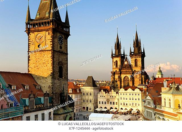The Old town square with Old Town Councilhouse and the Tyn church Prague  Czech Republic