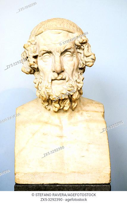 Marble terminal bust of Homer. Roman copy after a lost hellenistic original of the 2nd century BC. from Baiae in Italy