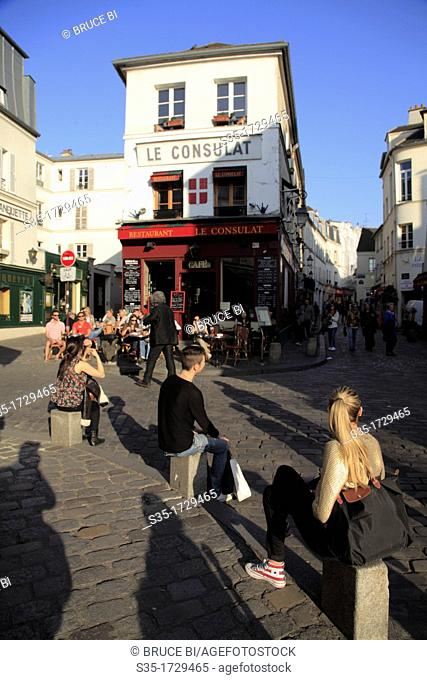 The street view of Montmartre  Paris  France