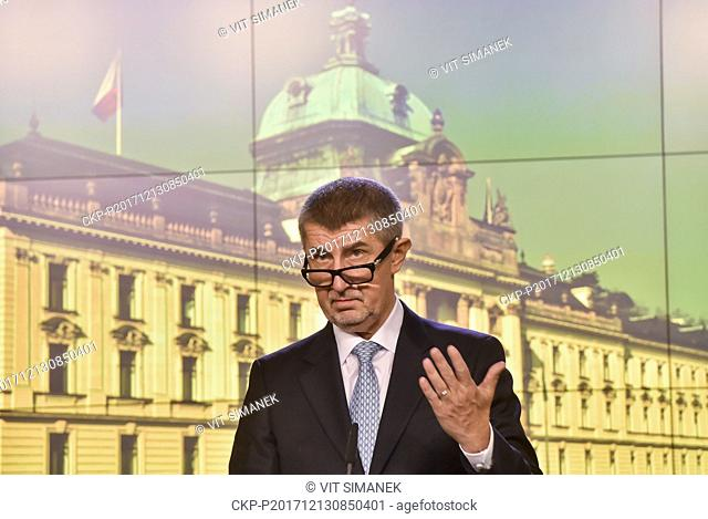 Prime Minister Andrej Babis speaks during the press conference after the first meeting of new Czech government in Prague, Czech Republic, on December 13, 2017